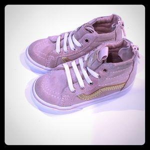 VANS Sk8-Hi Zip Pink & Gold Shoes